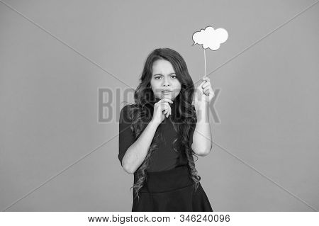 thoughts about future. smart child with party cloud. pretty thoughtful kid long curly hair. have your opinion. what on your mind. think of fashion. her thoughts. never know what she is thinking about. stock photo
