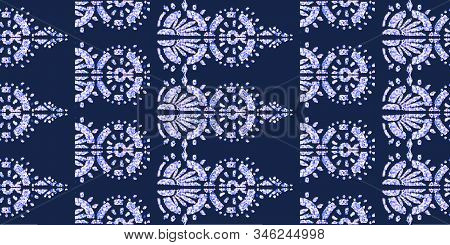 Glamour rich ornament on glitter effect. Royal geometric ornate pattern. Vector glamour sparkle shapes. stock photo