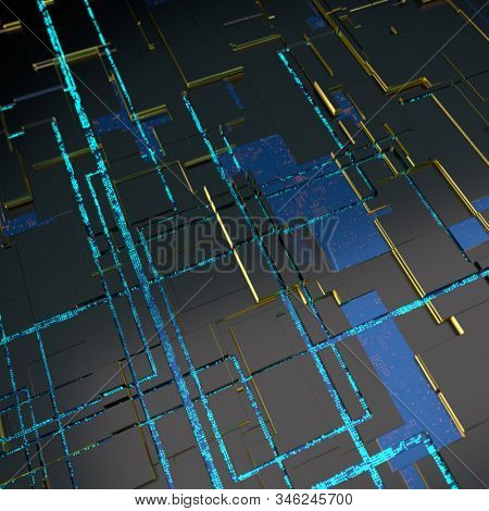 Circuit board futuristic server code processing. Angled view blue color technology black background. 3d rendering abstract circuit board stock photo