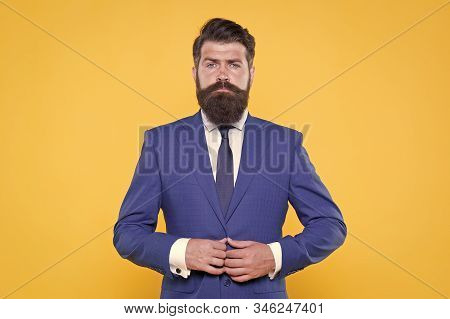 Success is Mission. handsome bearded man ceo. successful and charismatic boss. leadership concept. improve yourself in business. confident and serious male. serious intention. businessman formal suit. stock photo