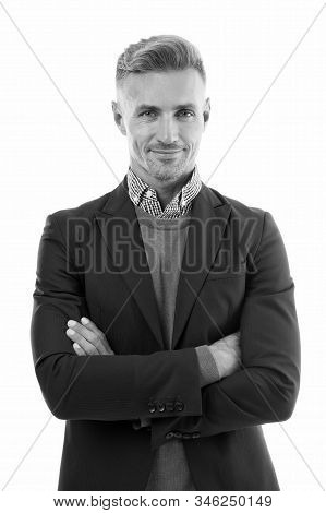 Facial care and ageing. Men get more attractive with age. Beauty of mature face. Traits and behaviors that make men more appealing. Attractive mature man. Mature guy with grey hair and bristle. stock photo