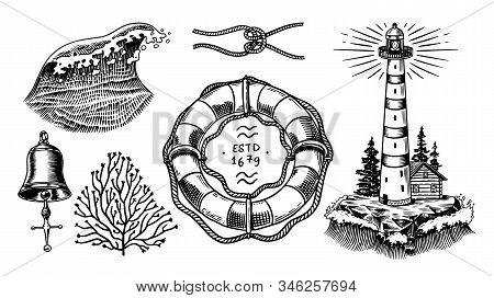 Nautical adventure set. Sea lighthouse, marine ocean waves, beacon and lifebuoy. Hand drawn engraved monochrome vintage old sketch. stock photo