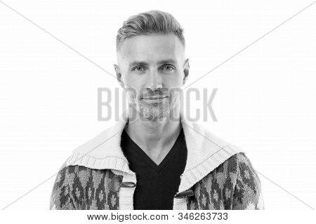 Traits and behaviors that make men more appealing. Attractive mature man. Mature guy with grey hair and bristle. Men get more attractive with age. Facial care and ageing. Beauty of mature face. stock photo