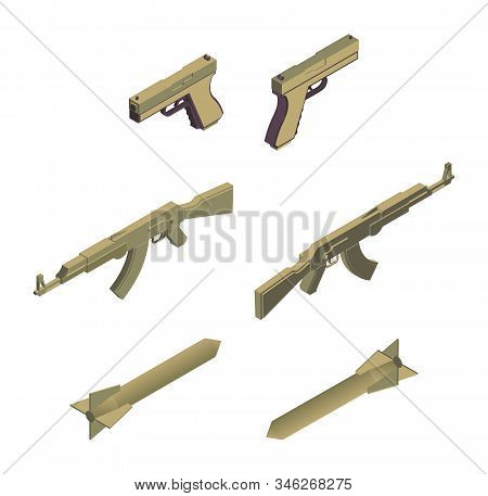 Military weapons isometric vector illustrations set. Modern army weaponry, ammunition, armed conflict design elements. Handguns, automatic machine guns and missile rockets isolated on white background stock photo