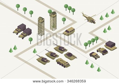 Military base isometric vector illustration. Combat training camp with watchtowers, heavy weapons, armored helicopter and ground vehicles. Modern warfare area, armed conflict concept stock photo