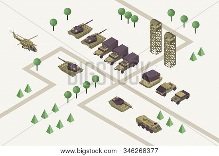 Military camp isometric vector illustration. Combat training ground with watchtowers, heavy weaponry, armored helicopter, rocket missile launchers and tanks. Modern warfare area, armed conflict stock photo