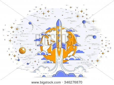 Rocket Launch Over Planet Earth Into Space, Surrounded By Satellites, Stars And Other Elements. Expl
