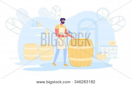 Professional Cooper in Apron Making Wooden Barrel Fixing Wine Wood with Chisel and Hammer. Cooperage Process in Workshop, Manufacturing of Handmade Production, Hobby. Cartoon Flat Vector Illustration stock photo