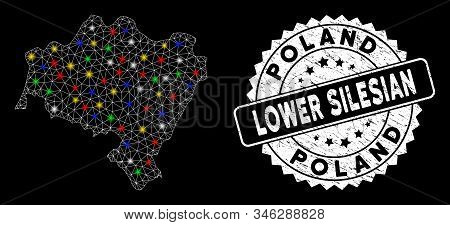 Bright mesh Lower Silesian Voivodeship map with lightspot effect, and seal stamp. Wire carcass triangular Lower Silesian Voivodeship map mesh in vector format on a black background. stock photo