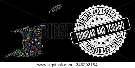 Bright mesh Trinidad and Tobago map with lightspot effect, and seal stamp. Wire carcass polygonal Trinidad and Tobago map network in vector format on a black background. stock photo