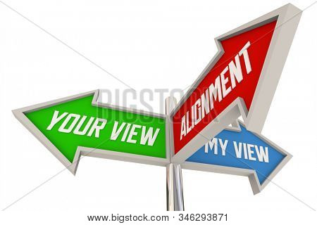 Alignment Your My View Opinion Direction Signs 3d Animation stock photo