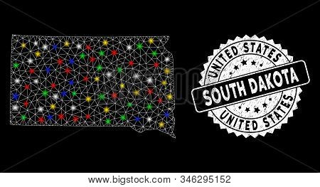 Bright mesh South Dakota State map with lightspot effect, and seal. Wire frame polygonal South Dakota State map network in vector format on a black background. White round seal with distress textures. stock photo