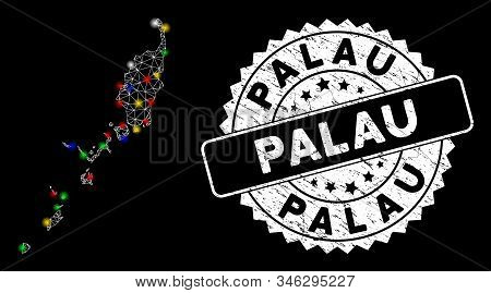 Bright mesh Palau map with lightspot effect, and stamp. Wire carcass triangular Palau map mesh in vector format on a black background. White round seal stamp with distress texture. stock photo