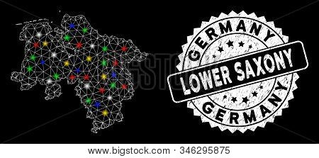 Bright mesh Lower Saxony Land map with glare effect, and stamp. Wire carcass polygonal Lower Saxony Land map mesh in vector format on a black background. White round seal stamp with grunged texture. stock photo