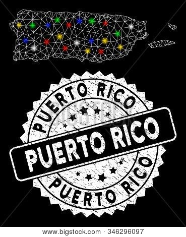 Bright mesh Puerto Rico map with lightspot effect, and seal stamp. Wire carcass polygonal Puerto Rico map mesh in vector format on a black background. White round stamp with dirty texture. stock photo