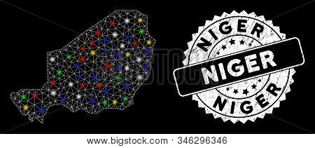 Bright mesh Niger map with glare effect, and rubber print. Wire frame polygonal Niger map network in vector format on a black background. White round rubber seal with rubber textures. stock photo