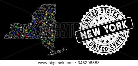 Bright mesh New York State map with lightspot effect, and seal stamp. Wire carcass triangular New York State map mesh in vector format on a black background. stock photo