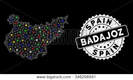 Bright mesh Badajoz Province map with lightspot effect, and seal. Wire frame polygonal Badajoz Province map mesh in vector format on a black background. White round seal stamp with distress surface. stock photo
