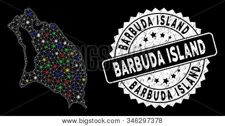 Bright mesh Barbuda Island map with lightspot effect, and seal stamp. Wire frame triangular Barbuda Island map network in vector format on a black background. stock photo
