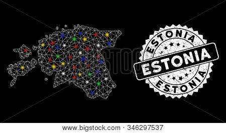Bright mesh Estonia map with lightspot effect, and watermark. Wire carcass polygonal Estonia map mesh in vector format on a black background. White round watermark with scratched surface. stock photo