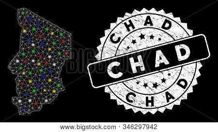 Bright mesh Chad map with lightspot effect, and rubber print. Wire frame polygonal Chad map mesh in vector format on a black background. White round rubber stamp with rubber surface. stock photo