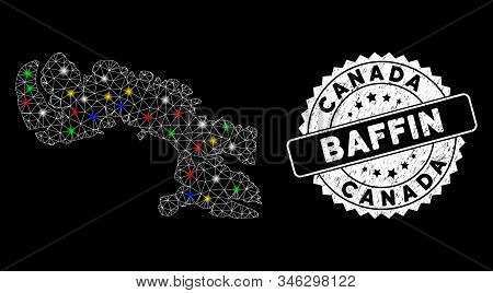 Bright mesh Baffin Island map with lightspot effect, and seal stamp. Wire carcass triangular Baffin Island map mesh in vector format on a black background. stock photo