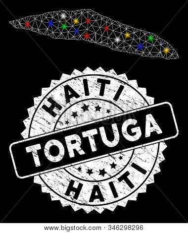 Bright mesh Tortuga Island of Haiti map with lightspot effect, and stamp. Wire carcass polygonal Tortuga Island of Haiti map mesh in vector format on a black background. stock photo