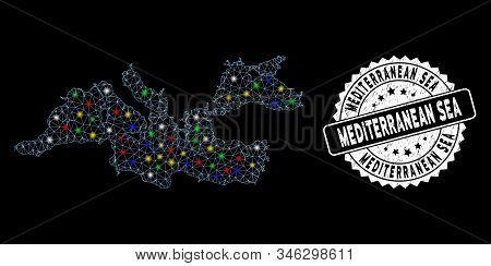 Bright mesh Mediterranean Sea map with lightspot effect, and rubber print. Wire carcass triangular Mediterranean Sea map mesh in vector format on a black background. stock photo