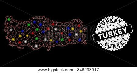 Bright mesh Turkey map with lightspot effect, and seal stamp. Wire carcass polygonal Turkey map mesh in vector format on a black background. White round seal stamp with scratched surface. stock photo