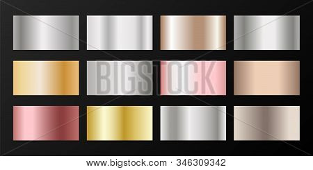 Metallic gradients vector set: silver, platinum, bronze, rose gold. Foil chrome, alloy, aluminum, titanium, copper, silver, yellow and pink gold, platinum, steel, bronze background swatches. stock photo