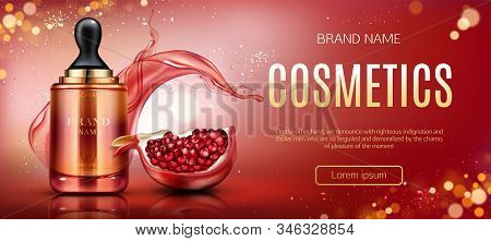 Pomegranate cosmetic mock up banner, serum pipette bottle with ripe garnet and water splashes, beauty skin care cosmetics product tube package mockup promo poster Realistic 3d illustration, ad stock photo