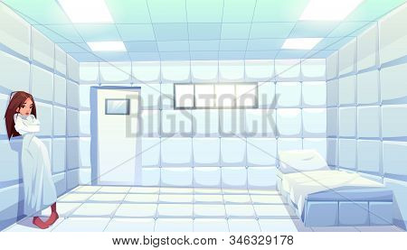 Woman in straitjacket in asylum, girl patient of mentally clinic. Madhouse room with bed, padded soft floor and walls. Psychiatric hospital for people with mental disorder. Cartoon illustration stock photo