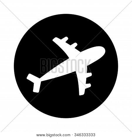 Air plane round icon. Black silhouette shape. Airplane flying sign symbol. Travel concept. Flat design. White background. Isolated. Vector illustration stock photo