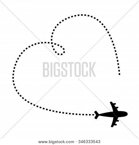 Air plane icon. Black silhouette shape. Airplane flying. Big dash line heart loop in the sky. Travel trace. Happy Valentines Day Love romantic card. Flat design. Isolated. White background. Vector stock photo