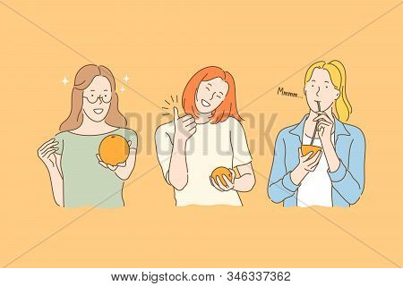 Health, vegan, fruit juice set concept. Young woman wants to be healthy. Girl likes eco food so much. Woman likes drinking fruit juice. Vegans and vegetarians prefer eating fruits. Simple flat vector stock photo