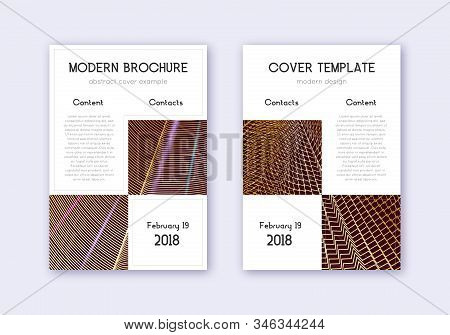 Business cover design template set. Gold abstract lines on maroon background. Appealing cover design. Extraordinary catalog, poster, book template etc. stock photo