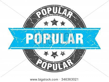 popular round stamp with turquoise ribbon. popular stock photo