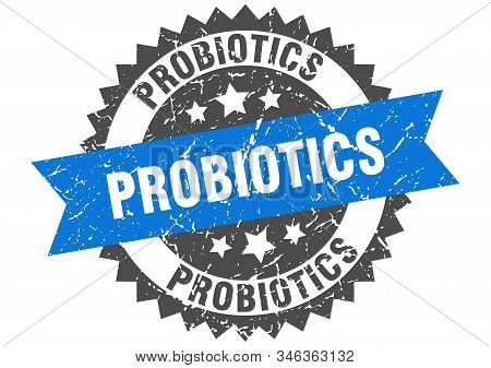 probiotics grunge stamp with blue band. probiotics stock photo