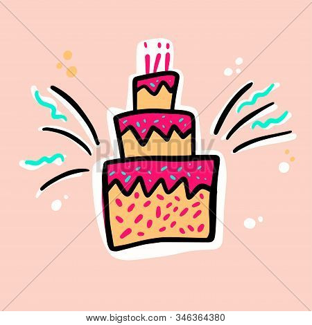 Birthday cakes hand drawn vector illustration. Anniversary desserts with burning candles Muffin, cupcake with confetti vector illustration stock photo