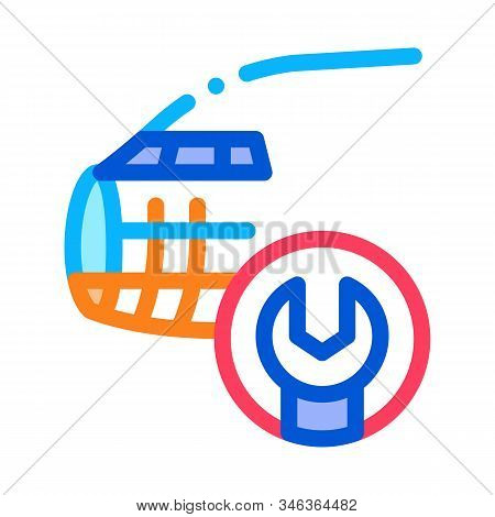 Plane Fix Wrench Icon Vector. Outline Plane Fix Wrench Sign. Isolated Contour Symbol Illustration stock photo