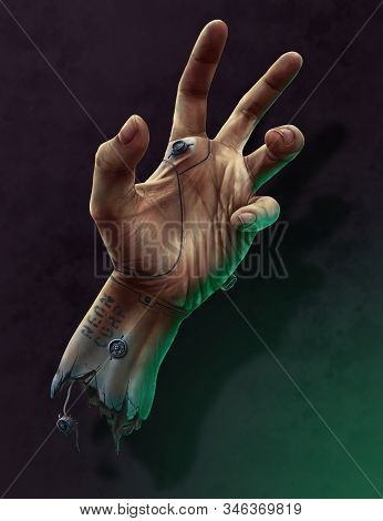 The Cyber-hand. 3D illustration. technologies of the future. stock photo