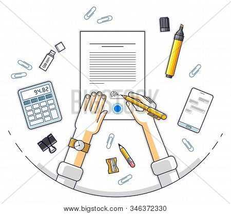 Businessman signs contract official paper document with seal, boss signs a order or directive, approve disposal, CEO manager chief, top view of desk with man hands. Vector illustration. stock photo
