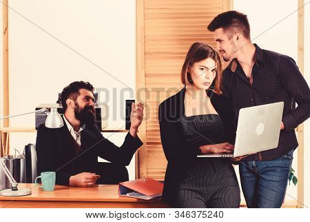 Woman working in mostly male workplace. Woman attractive lady working with men. Office collective concept. Sexual attraction. Stimulate sexual desire. Vulnerable to sexual harassment and assault stock photo