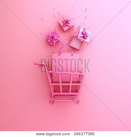 Happy valentines day, valentines day background, trolley cart, shopping bag, gift box, confetti on white background, valentines day shop, valentines day sale, 3D illustration. stock photo