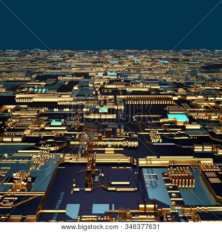 Circuit board futuristic server code processing. Angled view multicolor technology black background. 3d rendering abstract circuit board stock photo