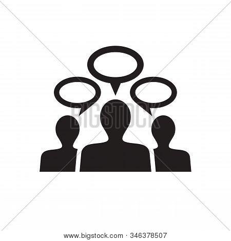 People communicate black icon design. Socila media communication icon. Business teamwork concept icon sign. Discussion icon symbol. Message talk chat dialog icon. Vector illustration. stock photo