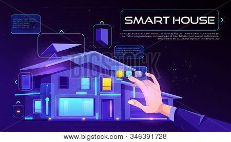Smart house web banner. Home building with artificial intelligence technology, Internet of things application services touch screen on neon glowing background Cartoon illustration, landing page stock photo