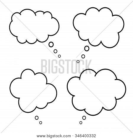 Set Of Comic Style Speech Bubbles. Empty Thinking Clouds On White Background. Dreams Concept. Box Fo