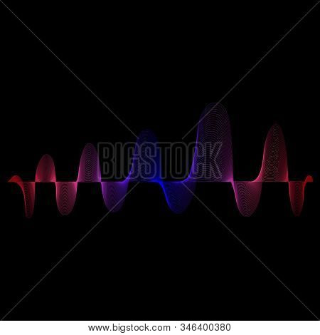 Sound and music color wave. Digital equalizer volume. Abstract radio background. Audio speaking wave. Colorful motion of soundtrack. Rhythm voice. Energy or technology concept. Pulse movement. Vector. stock photo