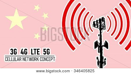 Cellular mobile tower - connection network concept for China, vector illustration of 3g 4g LTE and 5g dangerous waves from the cell tower, risk of 5G idea in colors red, yellow stock photo
